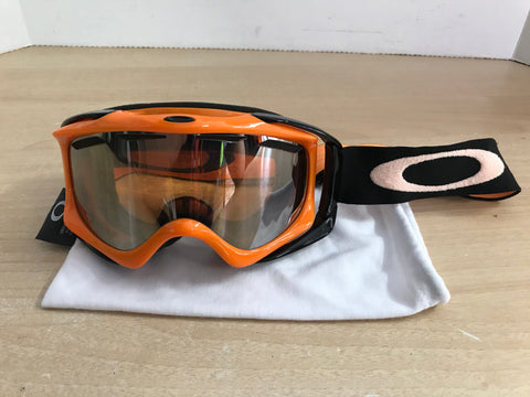 Ski Goggles Adult Size Large Oakley Big Lense Orange Black With Bag Minor Wear