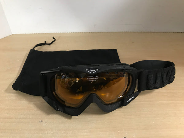 Ski Goggles Adult Size Large Uvex Supravision Double Lense Super Anti Fog Orange Lense With Bag
