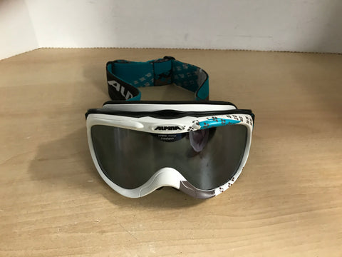 Ski Goggles Adult Size Small Alpina Teal White Black Excellent