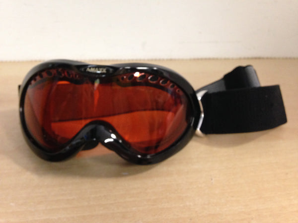 Ski Goggles Adult Size Small Maxx Black and Chrome