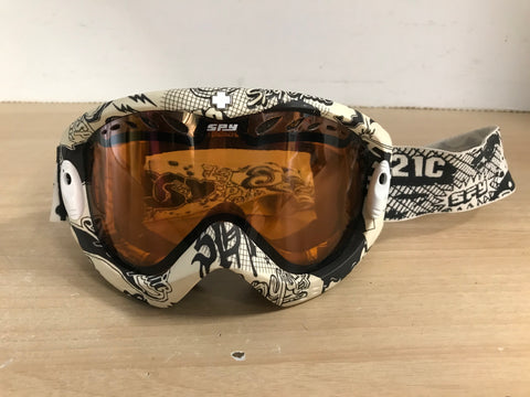 Ski Goggles Adult Size Spy Off White Black With Orange Lense
