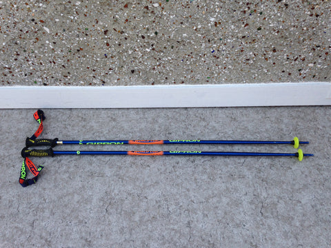 Ski Poles Adult Size 50 inch Gipron Blue Lime Rubber Handles Excellent