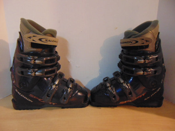 Ski Boots Mondo Size 24.5 Ladies Size 7 280 mm Salomon Sport Denim Blue Grey