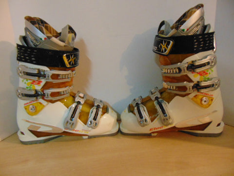 Ski Boots Mondo Size 25.5 Ladies size 8.5  298 mm Dalbello Cream and Gold Excellent