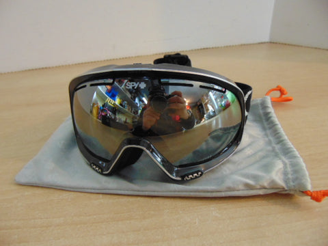 Ski Goggles Adult Size Small Spy Black With Bag And Mirrored Lenses New