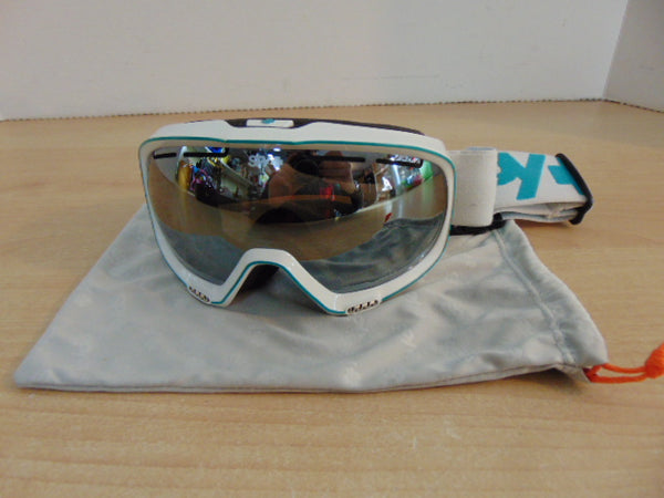 Ski Goggles Adult Size Small Spy White Teal With Bag And Mirrored Lenses As New
