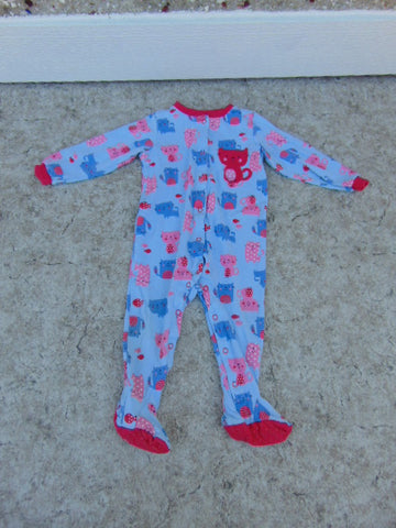 Sleeper Child Size 12 Month Pekkle Fushia Blue Cats Cotton