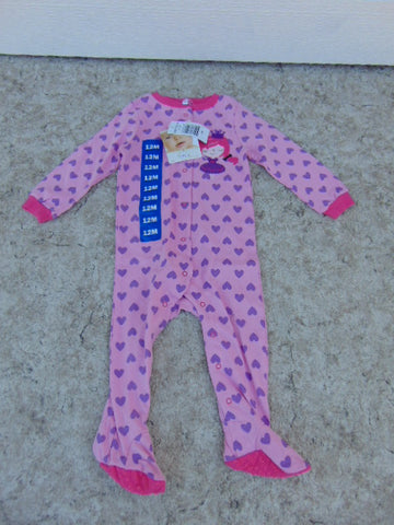 Sleeper Child Size 12 Month Pekkle Purple Fushia Hearts Princess Cotton NEW TAGS