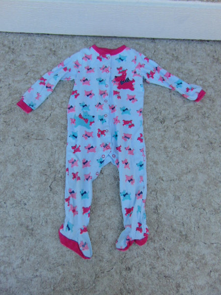Sleeper Child Size 24 Month Pekkle Aqua Blue Pink Scotty Dog Cotton