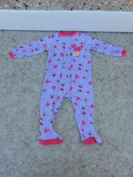 Sleeper Child Size 24 Month Pekkle Pink Purple Butterfly Cotton