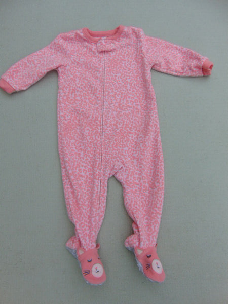 Sleeper Child Size 12 Month Pink Bunny Fleece