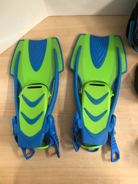 Snorkel Dive Fins Child Shoe Size 1-3 Aqua Lung Blue Lime New In Package