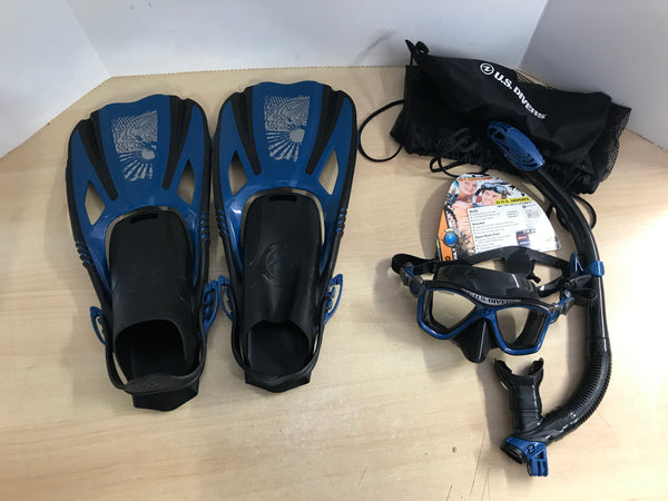 Snorkel Dive Fins Ladies Shoe Size 5-9.5 U.S. Divers Denim Blue Black New Demo Model