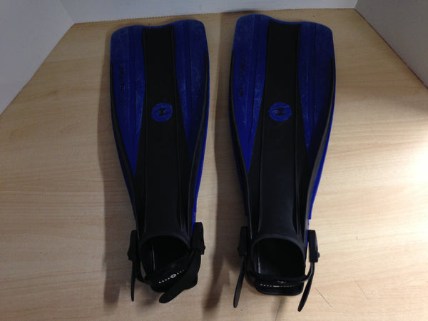 Snorkel Dive Fins  Men's Shoe Size 4.5-8.5 US Divers Blue Black Some Wear and Scratches