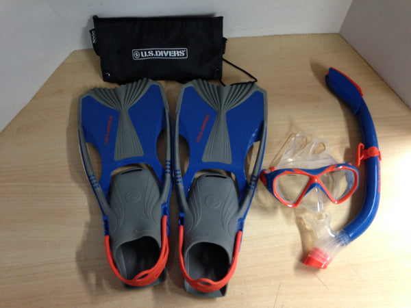 Snorkel Dive Fins  Men's Shoe Size 5-8 US Divers Blue Orange Some Wear