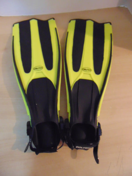 Snorkel Dive Fins Adult Youth Size 4.5 - 8.5 Shoe Size Dolfino Black Yellow