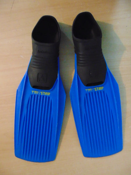 Snorkel Dive Fins Child Size 12-13 Shoe Size Blue Tri Star