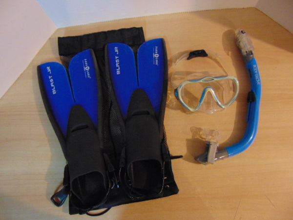 Snorkel Dive Fins Set Child Shoe Size 1-4 Aqua Fins and US Divers Blue Black