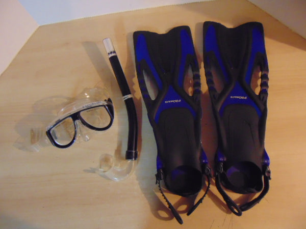 Snorkel Dive Fins Set Child Shoe Size 1-4  Pro Mate Blue Black Excellent