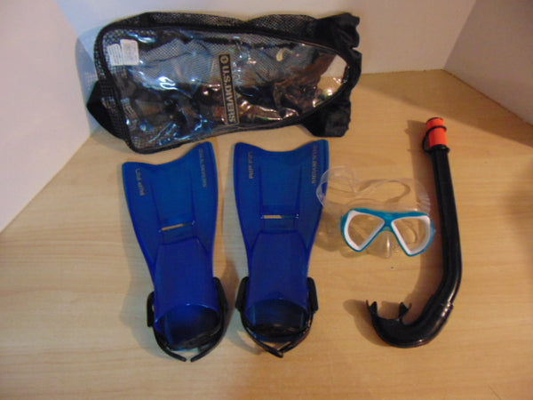 Snorkel Dive Fins Set Child Shoe Size 9-13 Assorted Blue Black