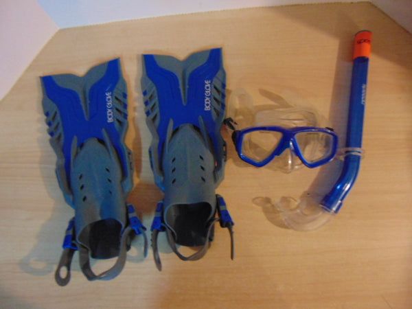 Snorkel Dive Fins Set Child Shoe Size 9-13 Body Glove Blue Grey Assorted