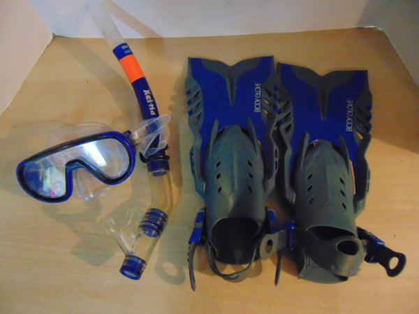 Snorkel Dive Fins Set Child Shoe Size 9-13 Shoe Blue Grey