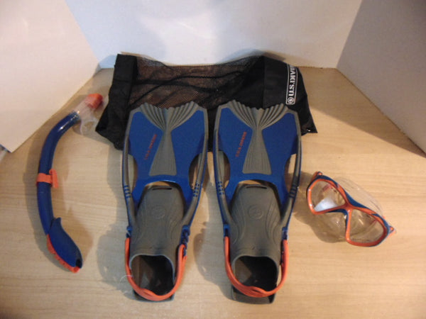 Snorkel Dive Fins Set Ladies Shoe Size 5-8 US Divers Blue Grey Coral Excellent