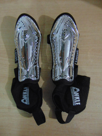 Soccer Shin Pads Child Size Small 4-6 Maximus Silver Black