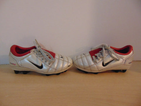 Soccer Shoes Cleats Child Size 10 Nike Total 90 Red Silver