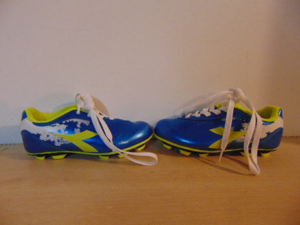 Soccer Shoes Cleats Child Size 11 Diadora Blue Lime As New