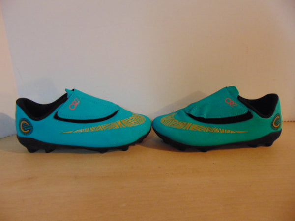 Soccer Shoes Cleats Child Size 13.5 Nike CR7 Aqua Blue Gold