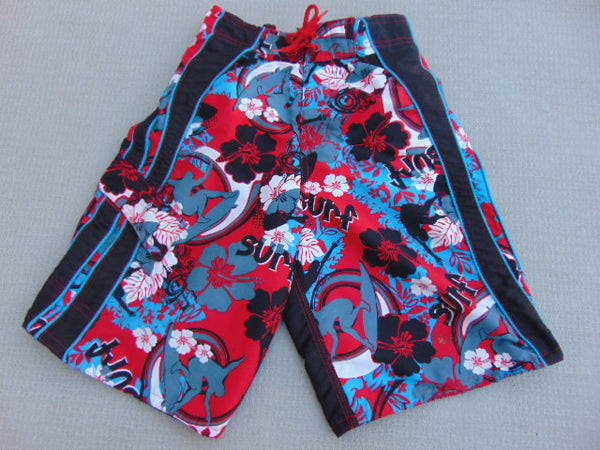 Swim Shorts Child Size 10-12 Red Navy With Liner