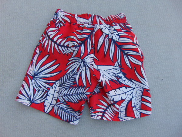 Swim Shorts Child Size 4 Red White Print With Liner