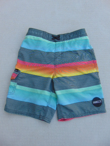 Swim Shorts Child Size 8 Oneill Grey Teal Red With Liner