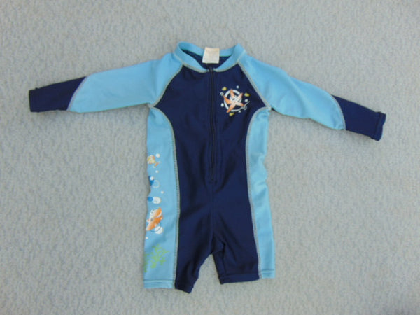 Sun Wear Child Size 18 Month UV Ray Please Mum Sun Swim Wear Long Sleeve 1PC Blue