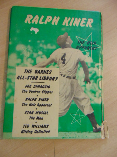 Vintage Children's Book 1951 Ralph Kiner The Heir Apparent Barnes All - Star Library Baseball Book RARE