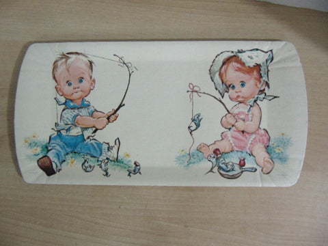 Vintage Tray 1962 Pete Hawley Fishing Girl and Boy 18 x 9 inches RARE Melamine