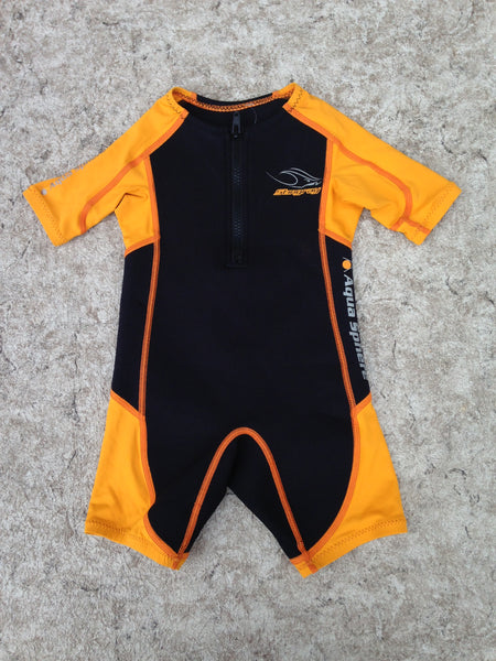 Wetsuit Child Size 2 With UV Ray Arms 1 mm Stingray Aqua Sphere Orange Black Sun Wear Excellent