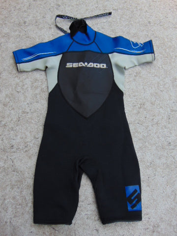 Wetsuit Child Size 10 Seadoo 2-3 mm Neoprene Black Grey Blue Excellent