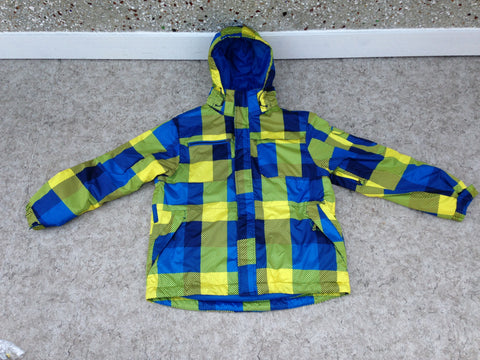 Winter Coat Men's Size Large Athletic Blue Lime  Snowboarding With Snow Belt Excellent
