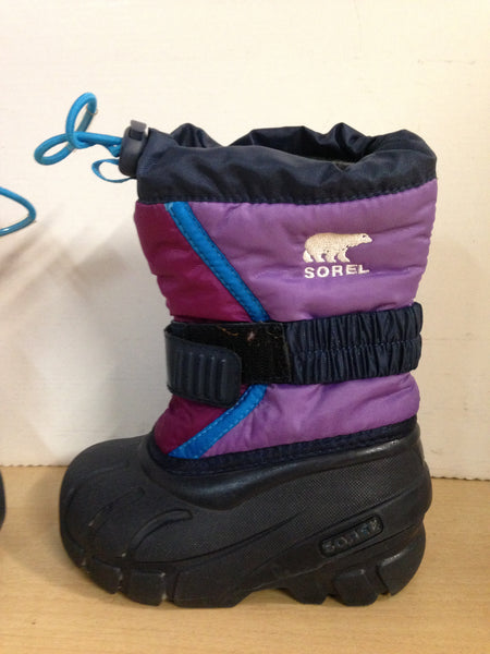 Winter Boots Child Size 7 Sorel Toddler Purple Fushia With Liner Excellent