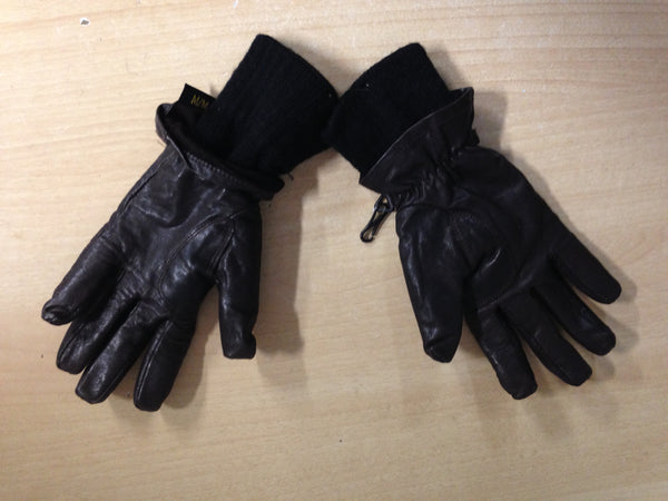 Winter Gloves and Mitts Ladies Size Small Auclair Leather Knit Brown Excellent