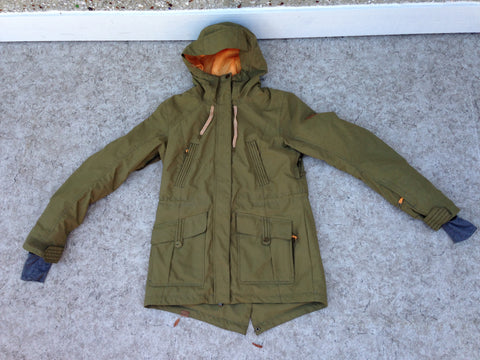 Winter Coat Ladies Size Medium ROXY Dry Flight Sage Tangerine With Snow Belt Made For Cold and Snow New Demo Model