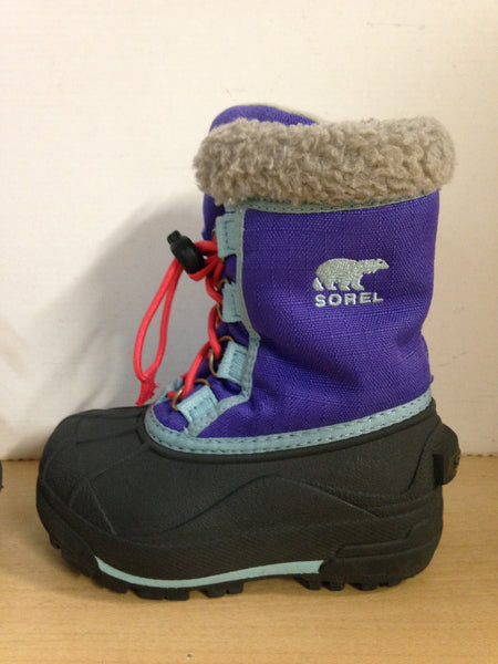 Winter Boots Child Size 8 Sorel Toddler Purple Grey Excellent
