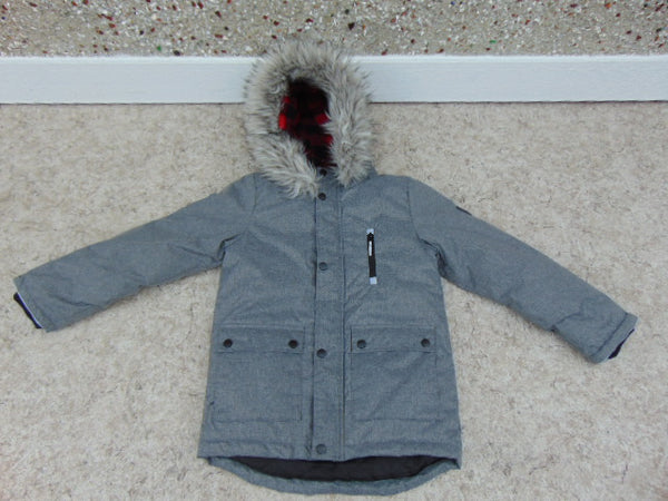 Winter Coat Child Size 10-12 Canadiana Parka Grey Red With Faux Fur New Demo Model