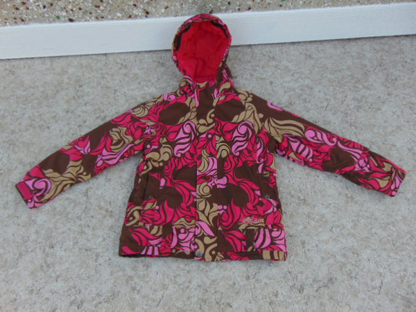 Winter Coat Child Size 10-12 Burton Fushia Multi With Snow Belt Snowboarding