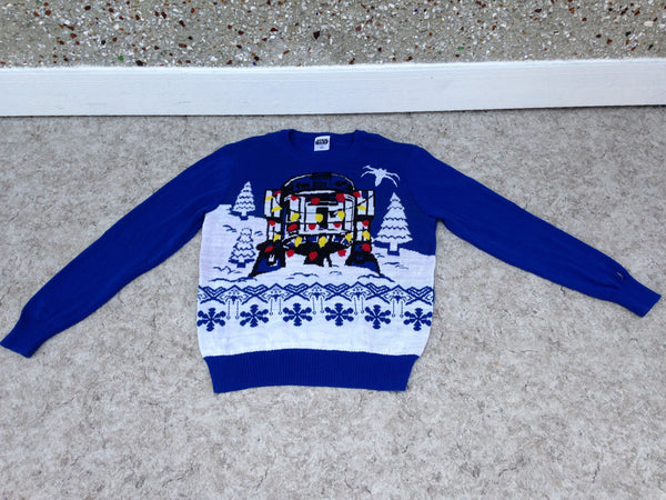 Winter Sweater Men's Size Large  Ugly Christmas Sweater Star Wars R2D2 Blue White New Demo