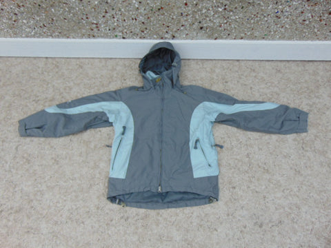 Winter Coat Ladies Size Small Helly Hansen Snowboarding With Snow Belt Made For The Snow And Cold Grey And Aqua Blue As New