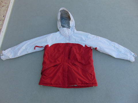 Winter Coat Ladies Size Large Helly Hansen Snowboarding With Snow Belt White Red