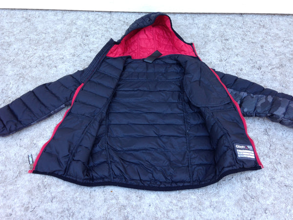 Winter Coat Child Size 7-8 Gerry Feather Down Filled Poly Jacket Black Red Grey